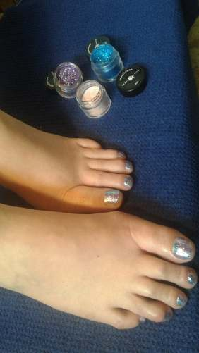 Young Rockstar Pedicure with glitter and clear polish- bling for the summer!