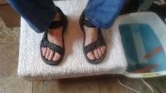 Men's pedicure in favorite sandals