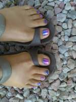 Colorful Rockstar Pedicure with clear polish & glitter