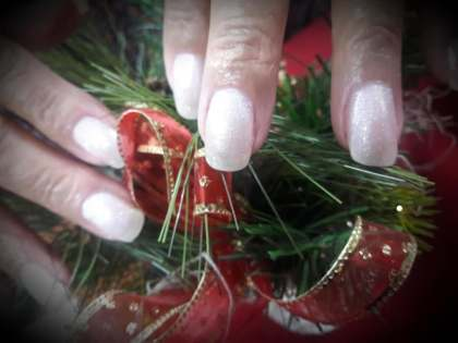 Natural nails, manicured & polished with OPI Gel- Hello Kitty Christmas collection